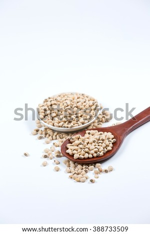 Black eyed peas on white plate and white spoon. Selective focus with shallow depth of field. - stock photo