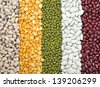 black eyes, yellow split pea, mung, navy and red bean for background uses - stock photo