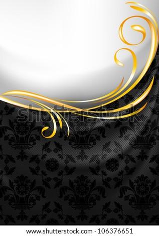 Black fabric curtain, gold vignette - stock photo