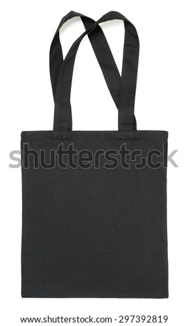 Black fabric eco bag isolated on white background - stock photo