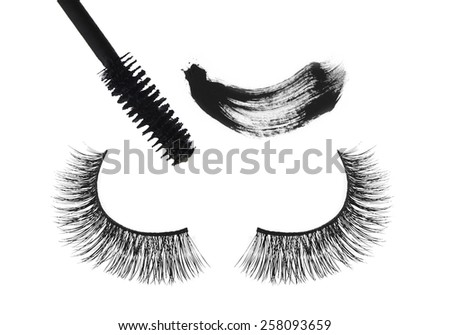 Black false eyelash and mascara isolated on white background - stock photo