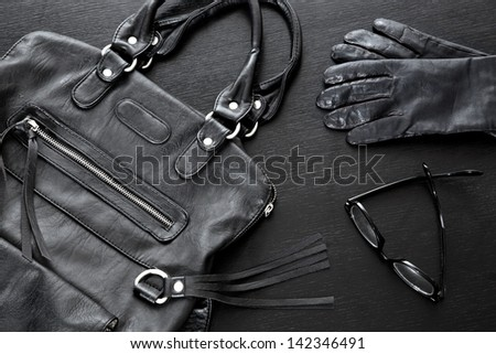 black fashion accessories - stock photo