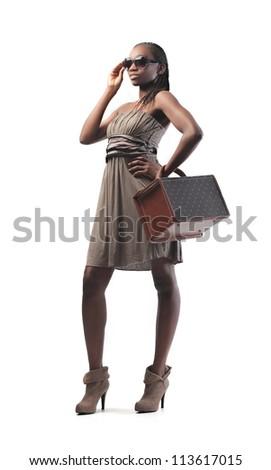 Black fashionable girl posing - stock photo