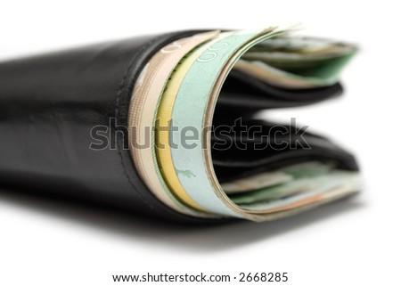 Black Fat Purse (Close View) - stock photo