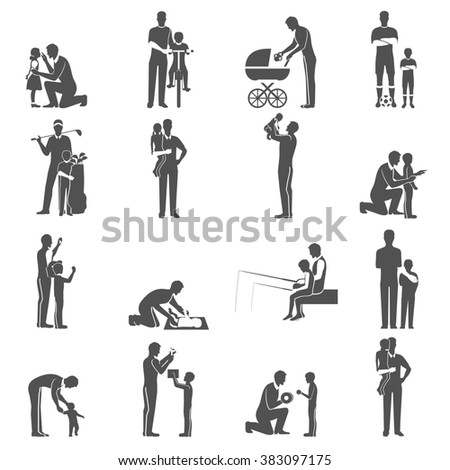 Black Fatherhood Icons Flat Set With Father And Children - stock photo