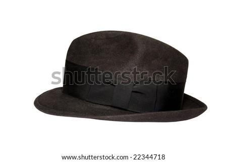 Black fedora felt hat with black hatband isolated on white - stock photo