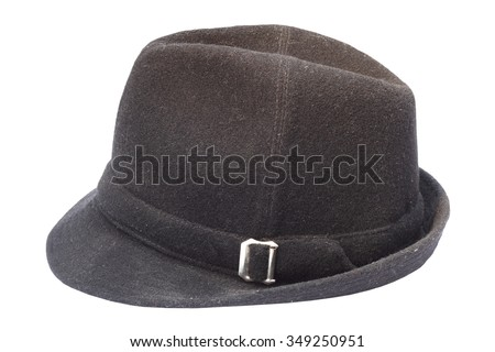 black fedora old hat isolated over white background - stock photo