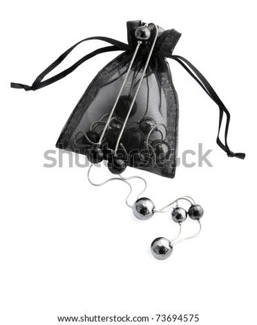 Black female adornment in the decorative sack - stock photo