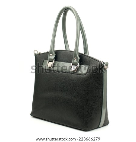 Black female bag made of reptile skin on white background.