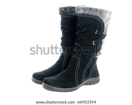 boots sheepskin boots isolated on suede boots isolated on white