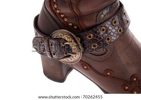 black female boots with  on the white background