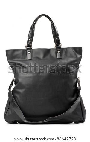 Black female handbag over white - stock photo
