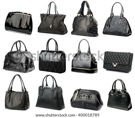 Black female handbags collection isolated on white background.Side view. - stock photo