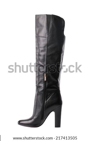 Black female high boot isolated on white background.