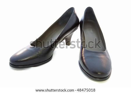 Black Female High Heels Isolated on White Background - stock photo