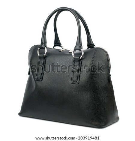 Black female leather bag isolated on white background.