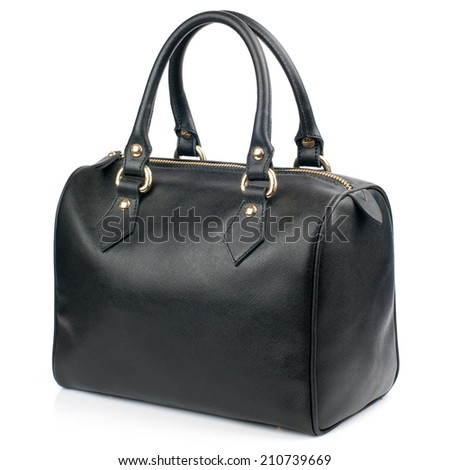 Black female leather bag isolated on white background. - stock photo