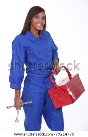 black female mechanic - stock photo