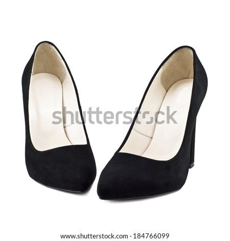 Black female shoes isolated on white background - stock photo