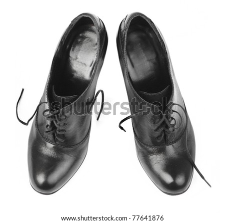 black female shoes on a white background - stock photo