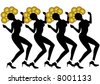black female silhouettes of dancers with gold circle headdresses in Las Vegas - stock photo