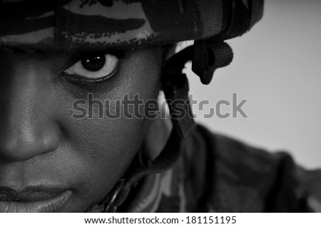 Black Female Soldier - stock photo