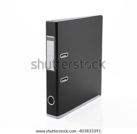 Black file folder, isolated on white background  - stock photo