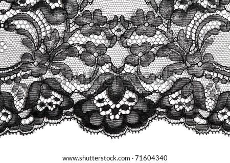 Black fine lace texture textile horizontal - stock photo