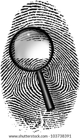 Black Fingerprint and magnify glass with blank white rectangle - stock photo
