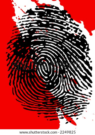 Black fingerprint on a blood splattered background - stock photo