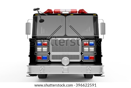 Black Firetruck front view isolated on a white background. 3D Rendering, 3D Illustration