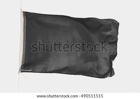 Black flag waving isolated on a white background. Promotional and advertisement object