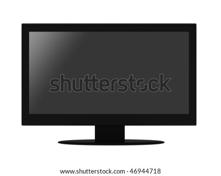 Black flat LCD TV isolated on white background. High quality 3d render. - stock photo