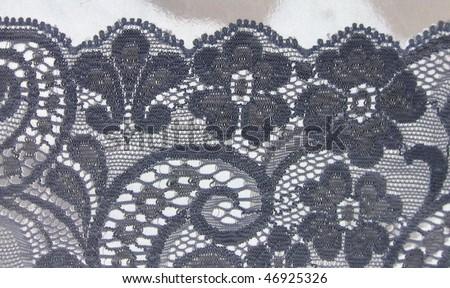 black floral lace border - stock photo