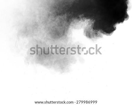 black flour smoke on white background - stock photo