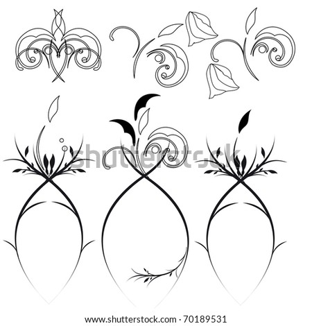 Black flower set isolated on white background (raster version). Vector version is also available. - stock photo