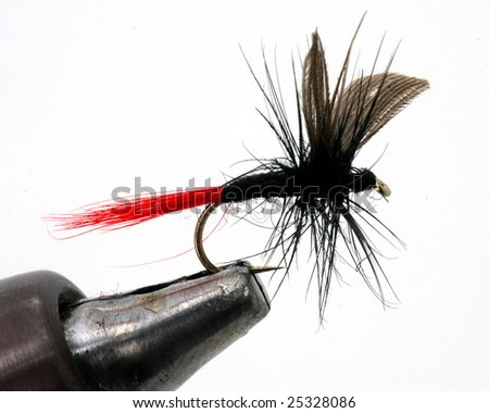 Black fly fishing lure - stock photo