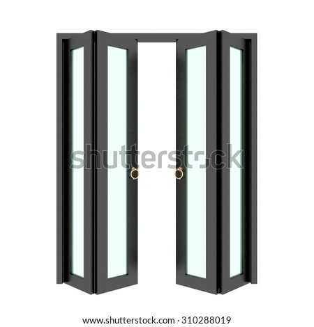 black folding door with grill ,3d - stock photo