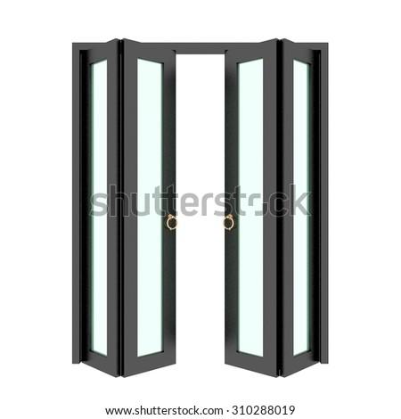 black folding door with grill 3d