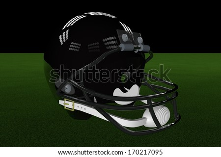 Black football helmet in the middle of field, with stadium lights, 3d render - stock photo