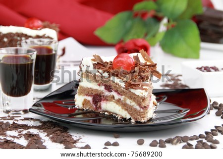 Black Forest, a traditional German cake with cherry liqueur - stock photo