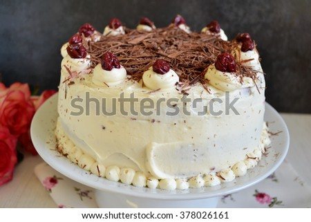 Black Forest Cake, Chocolate cake with cream and cherries  - stock photo