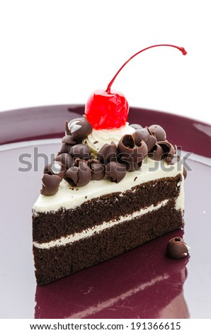 Black forest cake isolated on white background - stock photo