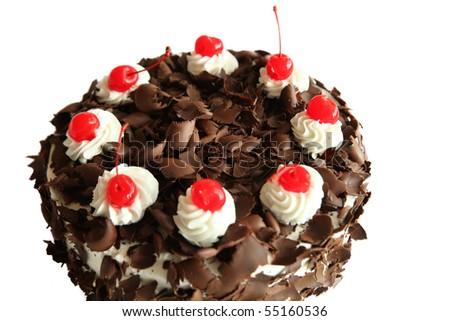 black forest cake on white background - stock photo