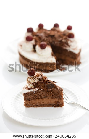 Black Forest cake (shot with shallow depth of field) - stock photo