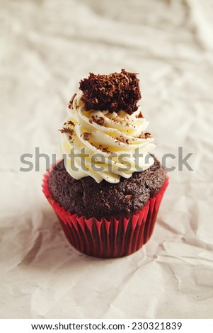 Black forest chocolate cupcake with clear space for text - stock photo