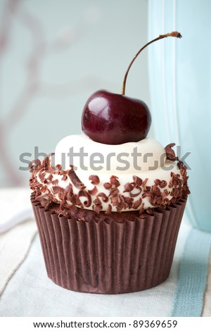 Black Forest Cupcake - stock photo