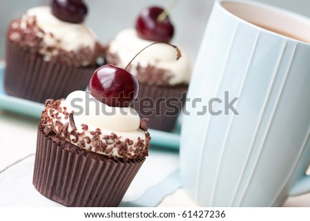 Black Forest Cupcakes - stock photo