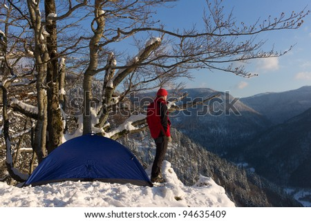 Black Forest hiker at winter, Germany - stock photo