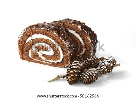 Black Forest Roulade Slice with larch cones as decoration - stock photo